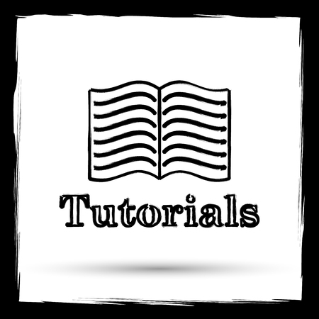 tutoriels: Tutorials icon. Internet button on white background. Outline design imitating paintbrush.