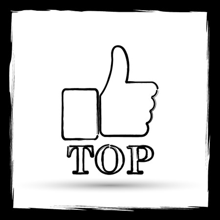 best rated: Top icon. Internet button on white background. Outline design imitating paintbrush.