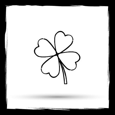 clover button: Clover icon. Internet button on white background. Outline design imitating paintbrush.