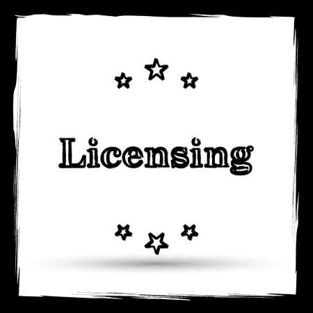 licensing: Licensing icon. Internet button on white background. Outline design imitating paintbrush.