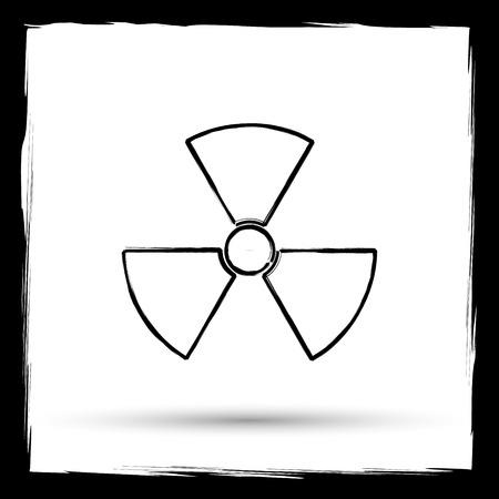 poisonous substances: Radiation icon. Internet button on white background. Outline design imitating paintbrush. Stock Photo