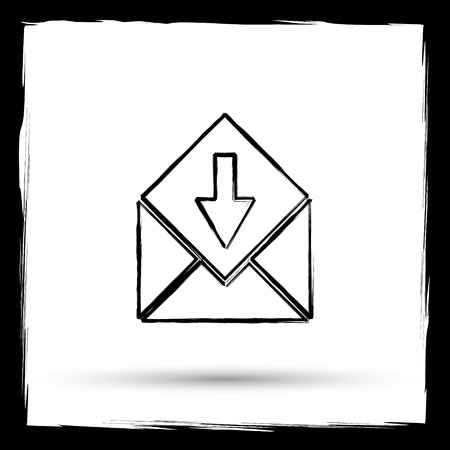 net bar: Receive e-mail icon. Internet button on white background. Outline design imitating paintbrush.