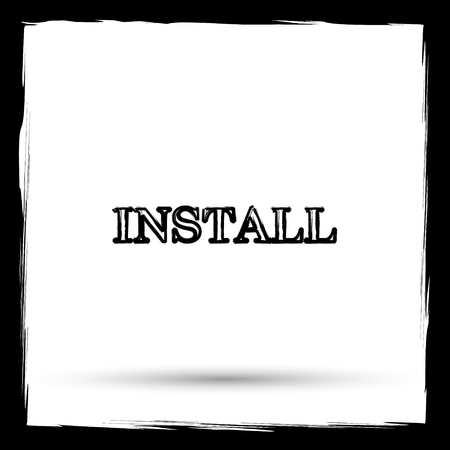 operative system: Install icon. Internet button on white background. Outline design imitating paintbrush.