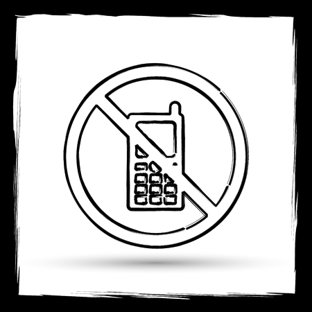use regulations: Mobile phone restricted icon. Internet button on white background. Outline design imitating paintbrush.