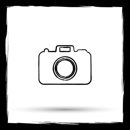 pic  picture: Photo camera icon. Internet button on white background. Outline design imitating paintbrush.