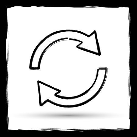 two arrows: Reload two arrows icon. Internet button on white background. Outline design imitating paintbrush. Stock Photo