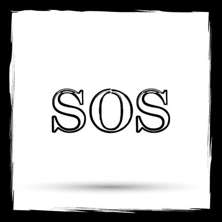 sos: SOS icon. Internet button on white background. Outline design imitating paintbrush. Stock Photo