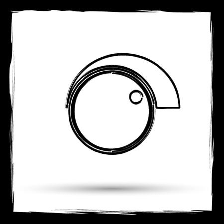 volume control: Volume control icon. Internet button on white background. Outline design imitating paintbrush. Stock Photo