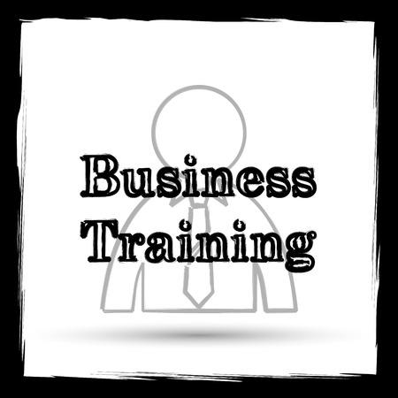 idea hurdle: Business training icon. Internet button on white background. Outline design imitating paintbrush.