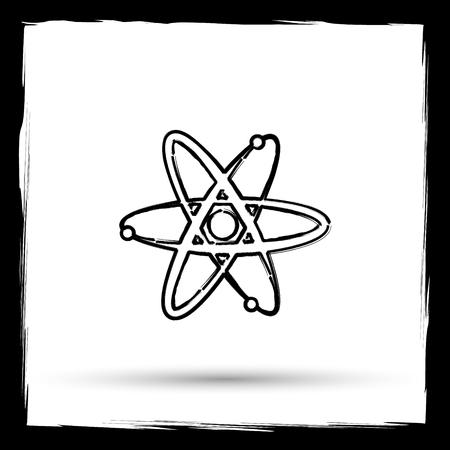 gamma radiation: Atoms icon. Internet button on white background. Outline design imitating paintbrush.