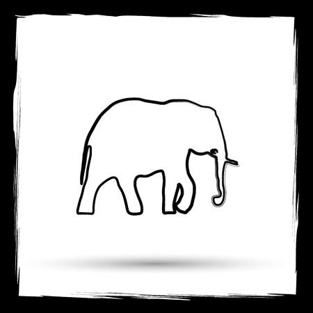 endanger: Elephant icon. Internet button on white background. Outline design imitating paintbrush.