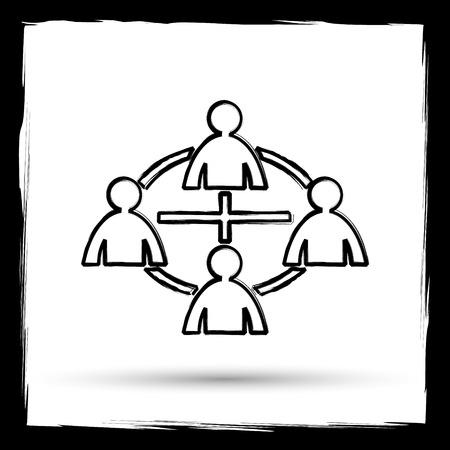 social gathering: Communication icon. Internet button on white background. Outline design imitating paintbrush.