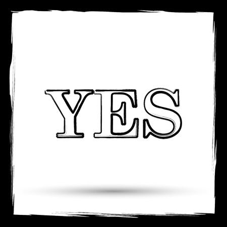 proceed: Yes icon. Internet button on white background. Outline design imitating paintbrush. Stock Photo