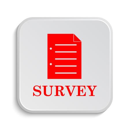 positive note: Survey icon. Internet button on white background.