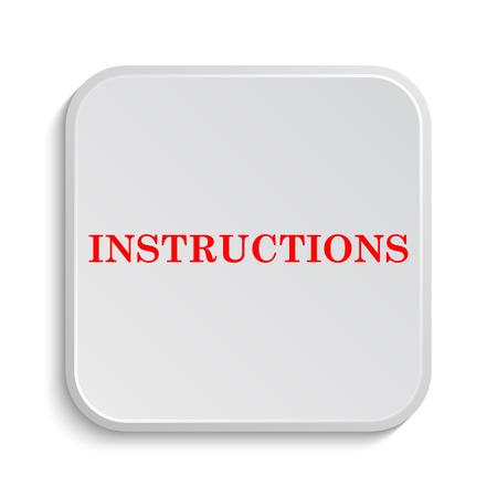 instrucciones: Instrucciones de icono. Bot�n de internet sobre fondo blanco.