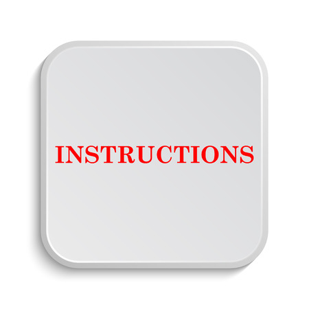 Instructions Icon Internet Button On White Background Stock Photo