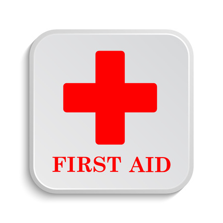 red sign: First aid icon. Internet button on white background. Stock Photo