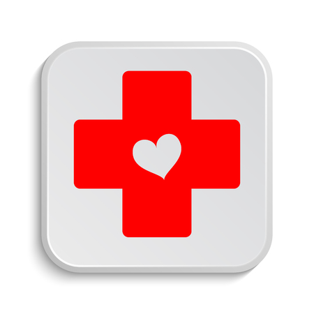 red sign: Cross with heart icon. Internet button on white background.