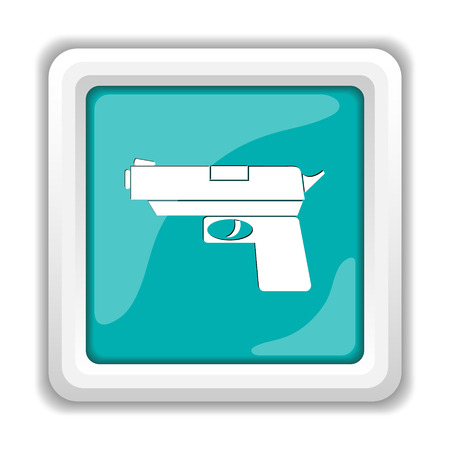 violent: Gun icon. Internet button on white background.