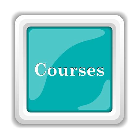 course development: Courses icon. Internet button on white background.