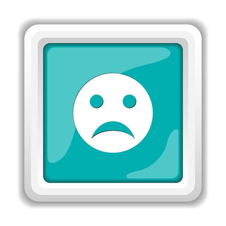smiley: Sad smiley icon. Internet button on white background. Stock Photo