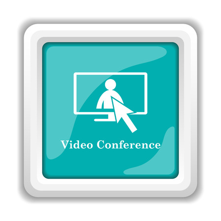 metier: Video conference, online meeting icon. Internet button on white background. Stock Photo