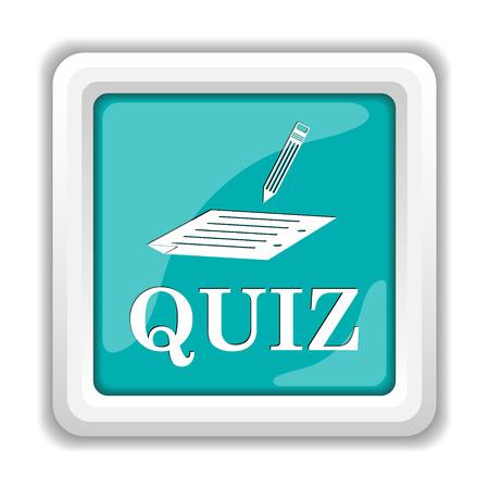 quiz: Quiz icon. Internet button on white background. Stock Photo