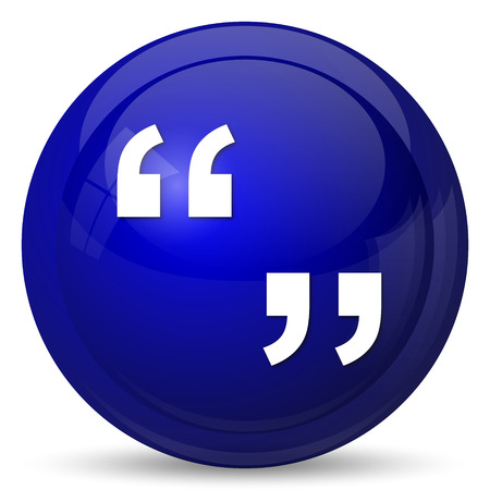 quotations: Quotation marks icon. Internet button on white background.