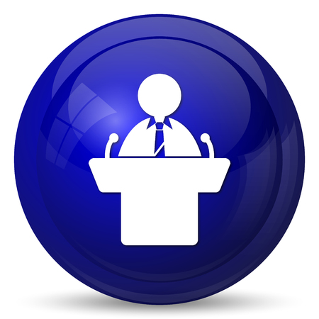 rostrum: Speaker icon. Internet button on white background. Stock Photo