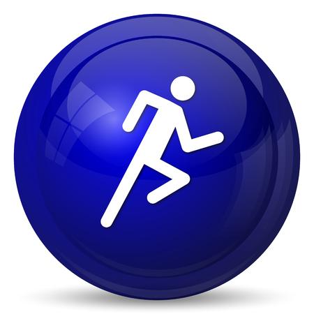 button icon: Running man icon. Internet button on white background.