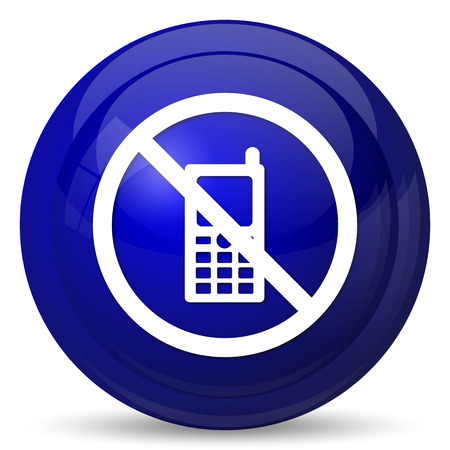 refrain: Mobile phone restricted icon. Internet button on white background.
