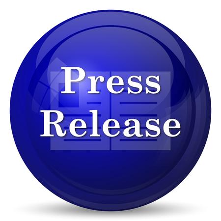 press button: Press release icon. Internet button on white background. Stock Photo