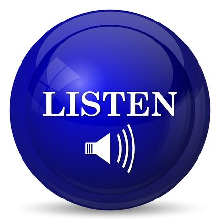 listen: Listen icon. Internet button on white background.