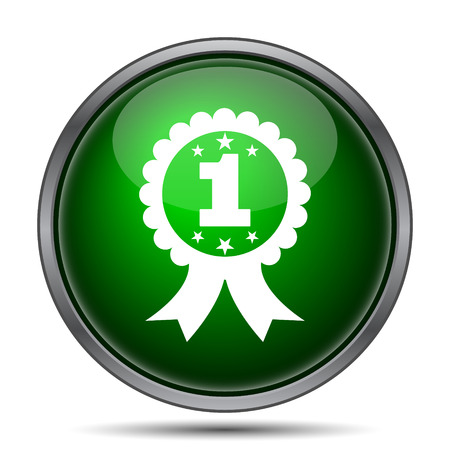 the first prize: First prize ribbon icon. Internet button on white background.