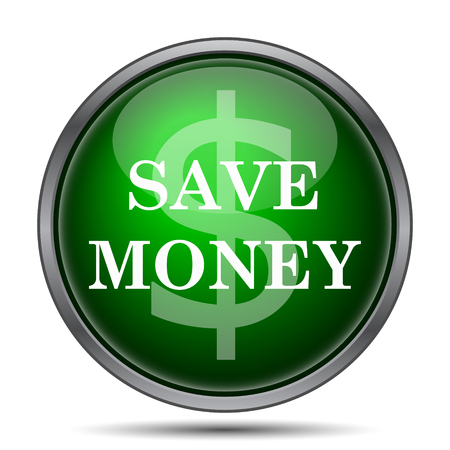 cost saving: Save money icon. Internet button on white background.