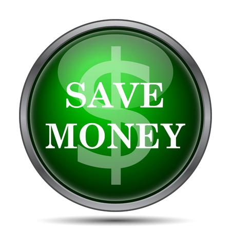 Spaar geld pictogram. Internet-knop op witte achtergrond.