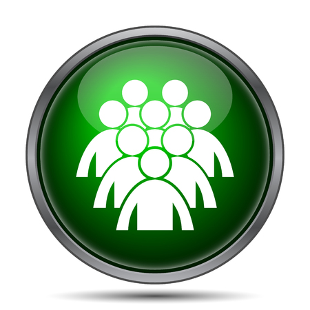 green button: Group of people icon. Internet button on white background. Stock Photo