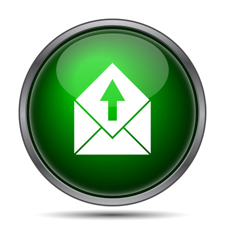 contact icon: Send e-mail icon. Internet button on white background.