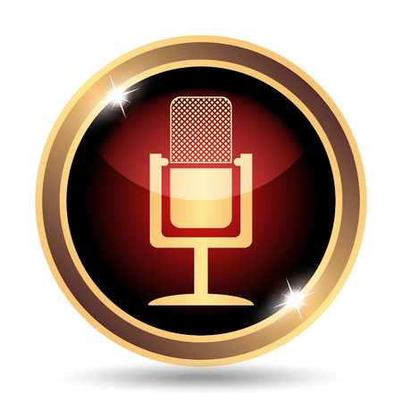 sing: Microphone icon. Internet button on white background.