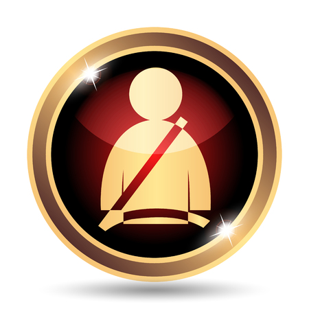 buckles: Safety belt icon. Internet button on white background.