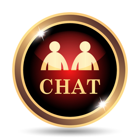 instant message: Chat icon. Internet button on white background. Stock Photo