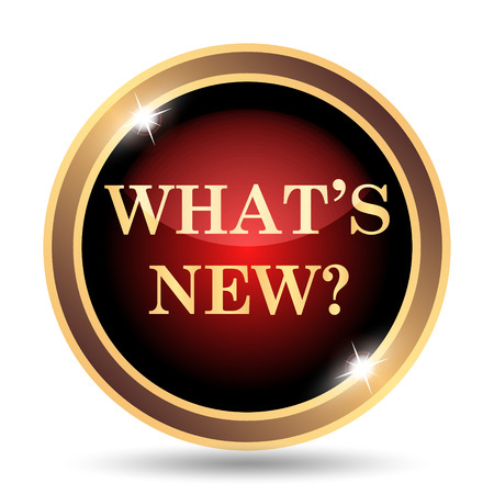 red button: Whats new icon. Internet button on white background. Stock Photo