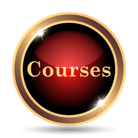 website buttons: Courses icon. Internet button on white background.