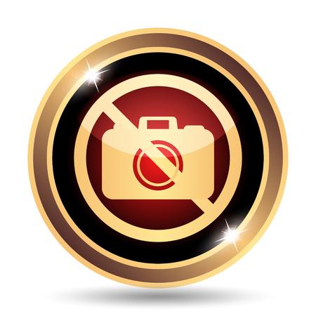 forbid: Forbidden camera icon. Internet button on white background.