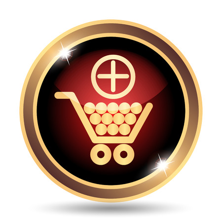 add button: Add to shopping cart icon. Internet button on white background.