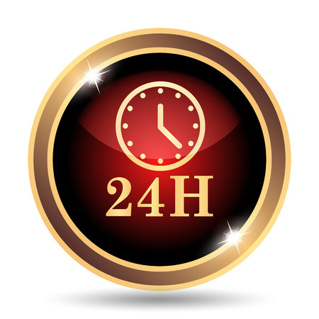 red telephone box: 24H clock icon. Internet button on white background. Stock Photo