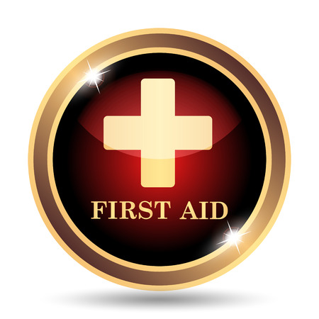 emergency medical: First aid icon. Internet button on white background. Stock Photo