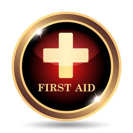 primeros auxilios: Icono de los primeros auxilios. Botón de internet sobre fondo blanco.
