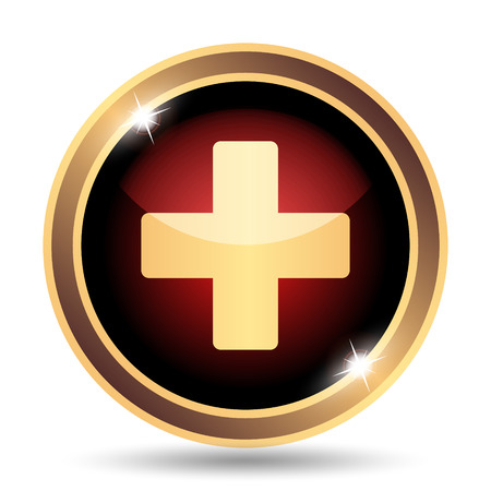hospital sign: Medical cross icon. Internet button on white background. Stock Photo