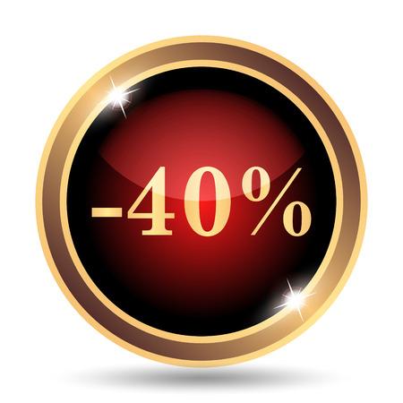 rebate: 40 percent discount icon. Internet button on white background. Stock Photo